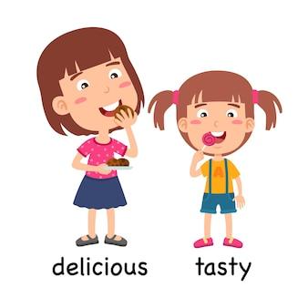 Synoniemen bijvoeglijke naamwoorden heerlijke en smakelijke vectorillustratie