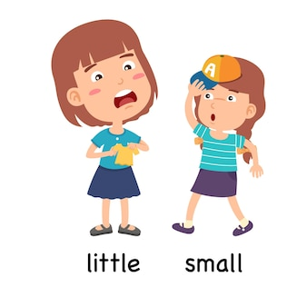 Synoniemen bijvoeglijke naamwoorden kleine en kleine vectorillustratie