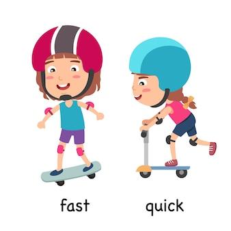 Synoniemen bijvoeglijke naamwoorden snel en snel vectorillustratie