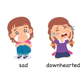 Synoniemen bijvoeglijke naamwoorden verdrietig en neerslachtig vectorillustratie