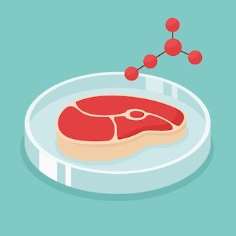 Synthetisch vlees illustratie. gekweekte biefstuk in het laboratorium