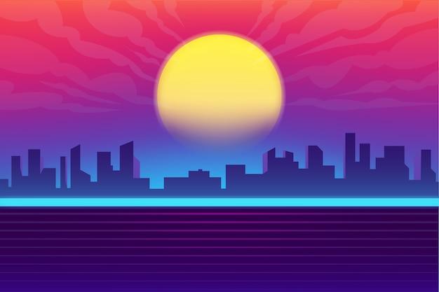 Synthwave nacht stad achtergrond