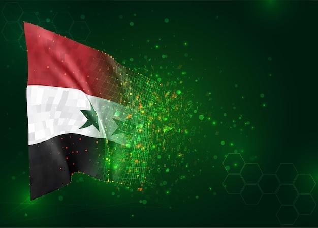 Syrië, 3d-vlag op groene achtergrond met polygonen
