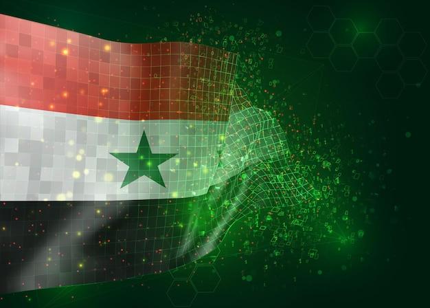Syrië, op vector 3d-vlag op groene achtergrond met veelhoeken en gegevensnummers