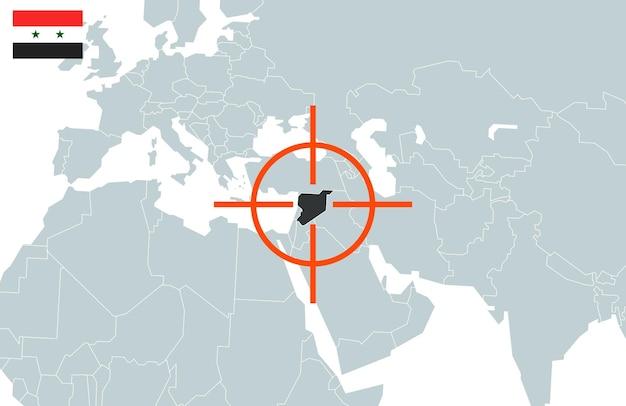 Syrië op wereldkaart in perspectief.