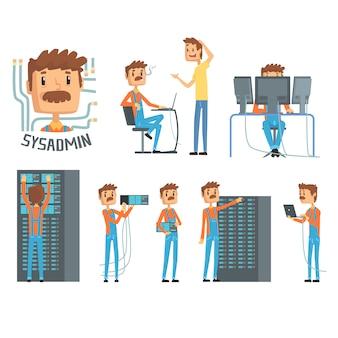 Sysadmin, karakters van netwerkingenieurs, set van netwerkdiagnostiek, gebruikersondersteuning en serveronderhoud cartoonillustraties