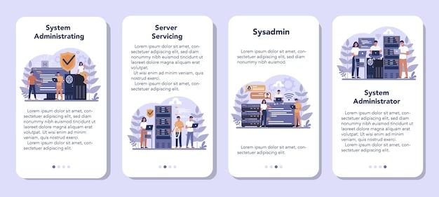Systeembeheerder mobiele applicatie-bannerset. mensen die op de computer werken en technisch werk met de server doen. configuratie van computersystemen en netwerken. geïsoleerde platte vectorillustratie