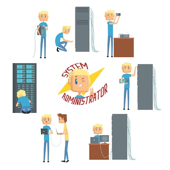 Systeembeheerder, netwerkingenieur-tekens, set netwerkdiagnostiek, gebruikersondersteuning en serveronderhoud cartoonillustraties