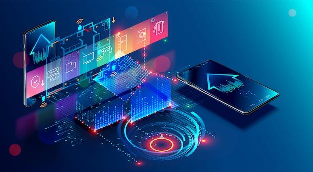 Systeemcontrole van iot. internet dingen in het bouwen van ontwikkeling en mobiele app