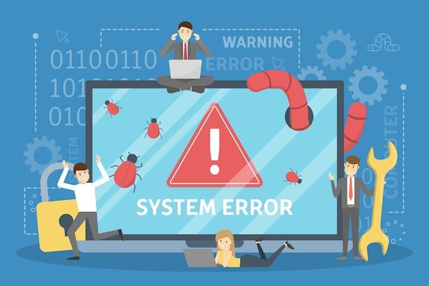 Systeemfout. mensen rennen in paniek weg van de computer