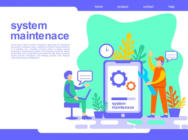 Systeemonderhoud bestemmingspagina illustratie