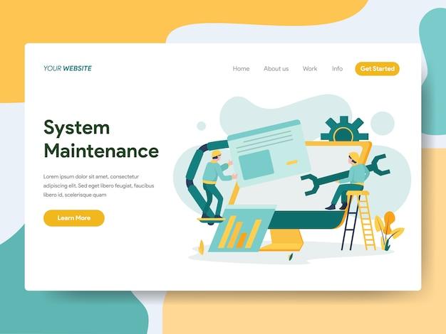 Systeemonderhoud voor websitepagina