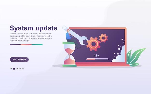 Systeemupdate concept. het proces van upgraden naar systeemupdate, nieuwere versies vervangen en programma's installeren. kan gebruiken voor web-bestemmingspagina, banner, mobiele app.