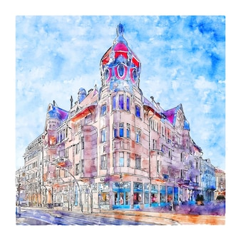Szeged spanje aquarel schets hand getrokken illustratie