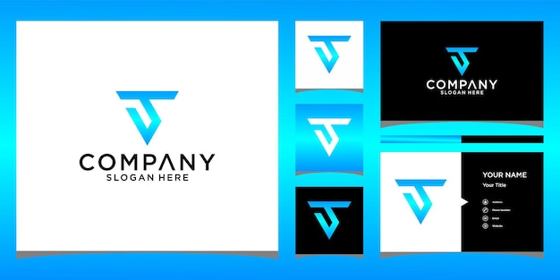 T-driehoek logo-ontwerp met zakelijke kaartsjabloon