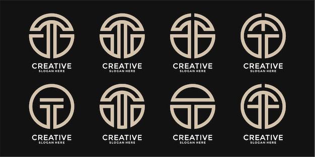 T letter logo collectie monogram