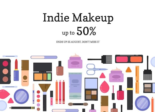 T make-up en skincare verkoop achtergrond