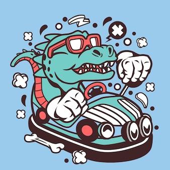 T-rex rijdende auto illustratie