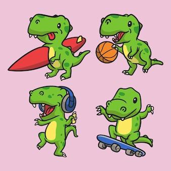 T rex surfen, t rex basketbal, t rex luister naar muziek en t rex skateboard dierlijk logo mascotte illustratie pakket