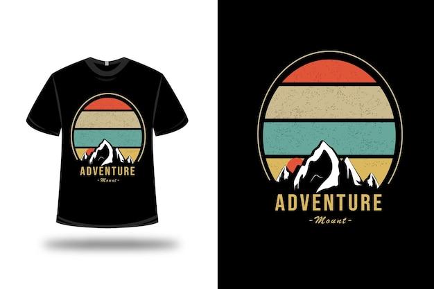 T-shirt adventure mount op oranje en geelgroen