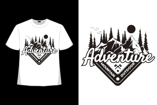 T-shirt adventure mountain outdoor grenen vintage stijl