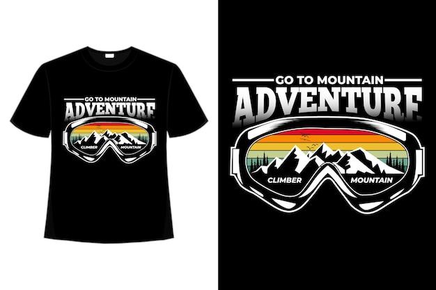 T-shirt avontuur berg dennenboom retro stijl