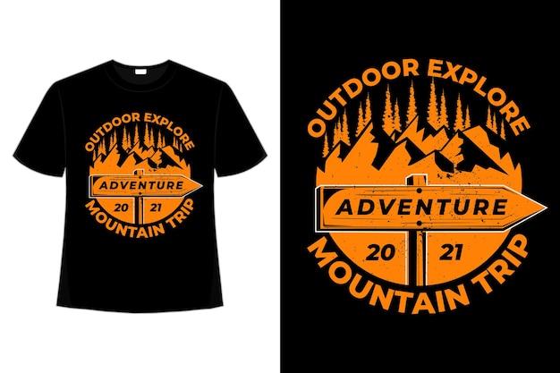 T-shirt avontuur bergtocht buiten verken vintage stijl