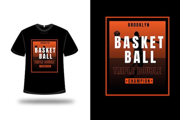 T-shirt basketbal triple dubbele kampioen kleur oranje verloop
