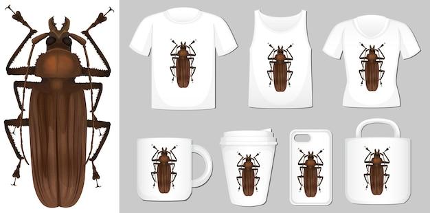 T-shirt, beker en omslag mobiel ontwerp met kever