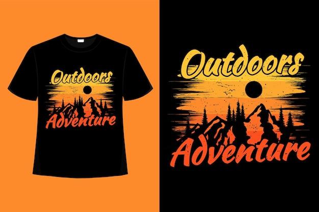 T-shirt buitenshuis avontuur grenen berg retro vintage illustratie