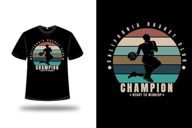 T-shirt california basket club kampioen klaar om winnaar kleur oranje crème en groen