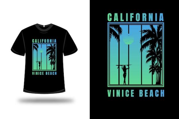 T-shirt california venice beach kleur blauw en groen