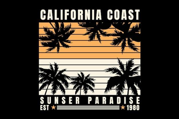T-shirt californië kust paradijs zonsondergang mooi vintage