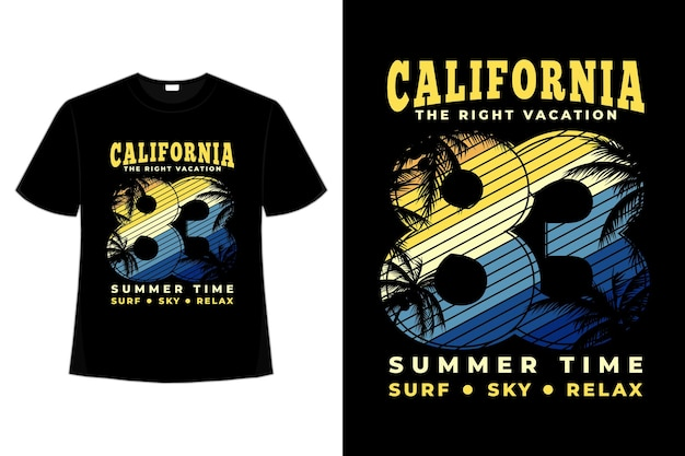 T-shirt californië vakantie zomertijd surfen hemel ontspannen typografie retro stijl