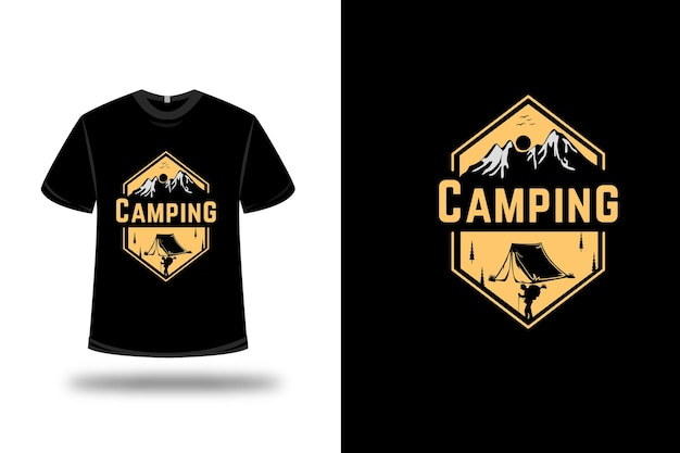 T-shirt camping kleur lichtgeel