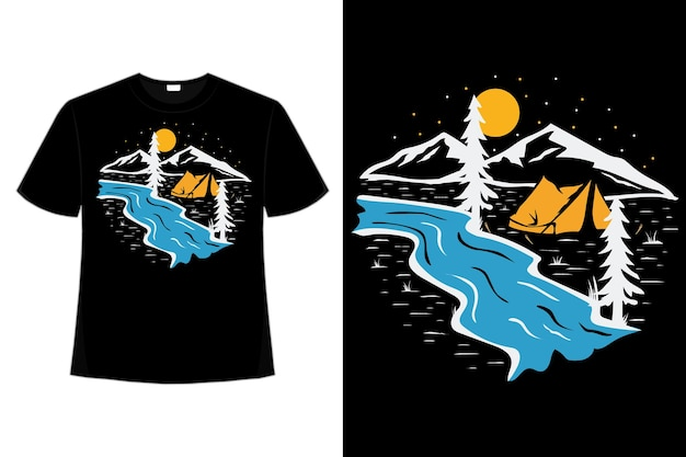 T-shirt camping pine rivier avontuur hand getekende retro vintage illustratie