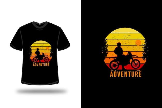 T-shirt crossmotor avontuur kleur geel oranje en rood