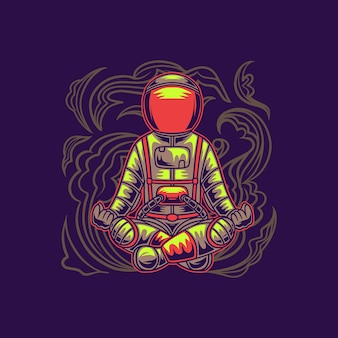 T-shirt design astronaut gymnastiek zitten pose yoga illustratie