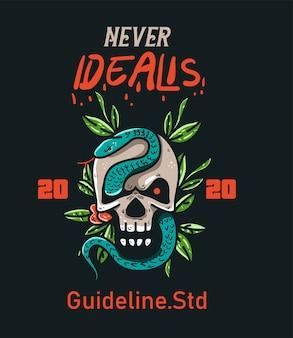 T-shirt design karakter schedel en slang vintage