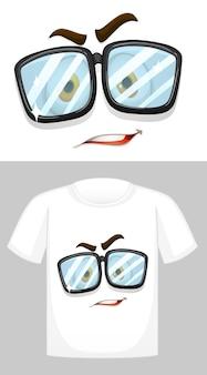 T-shirt design met afbeelding van gezicht met bril