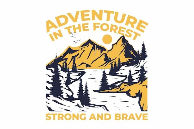T-shirt design met in retro avontuur bos berg dennenboom vintage stijl handgetekende