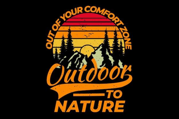 T-shirt design met in retro outdoor bos berg dennenboom natuur vintage stijl