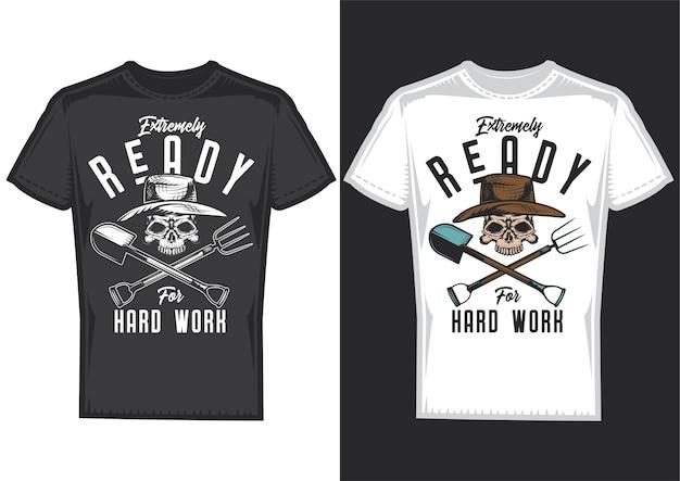 T-shirt design samples met illustratie van een boer met een schop.