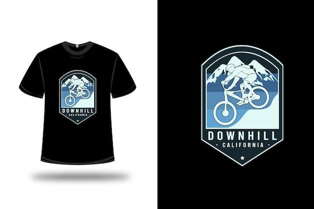 T-shirt downhill california kleur blauw en lichtblauw