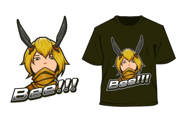 T-shirt e sport logo ontwerp gele bij