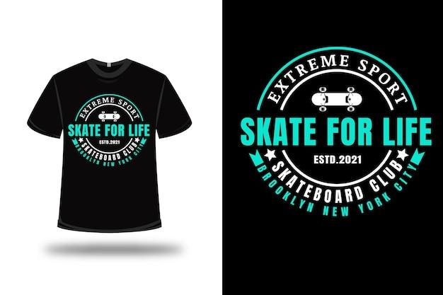 T-shirt extreme sport skate for life skateboard club kleur wit en tosca