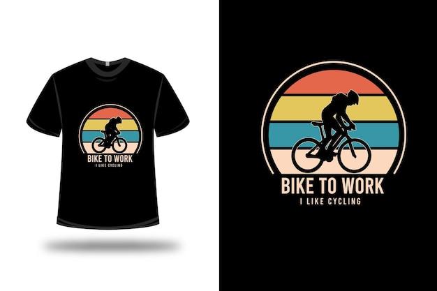 T-shirt fiets naar het werk ik hou van fietsen kleur oranje geel en groen