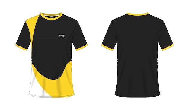 T-shirt geel en zwart voetbal of voetbal sjabloon voor teamclub op witte achtergrond.