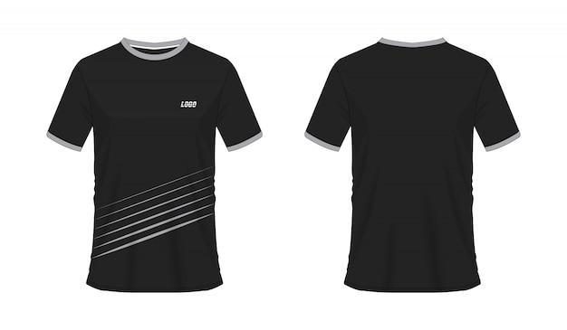 T-shirt grijs en zwart voetbal of voetbal jersey sport, illustratie