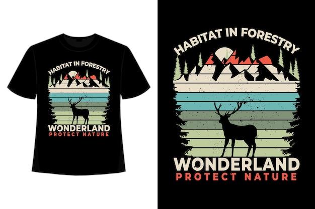 T-shirt habitat bos wonderland grenen natuur retro